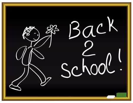 Back 2 school message on a chalkboard Vector