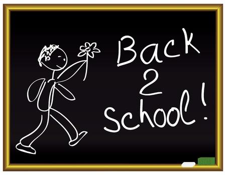 ni�os saliendo de la escuela: Mensaje de vuelta 2 escuela en una pizarra Vectores