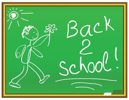 Back 2 school message on a chalkboard Vector