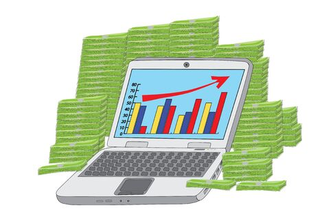 huge income: laptop in front of heap of money Vector
