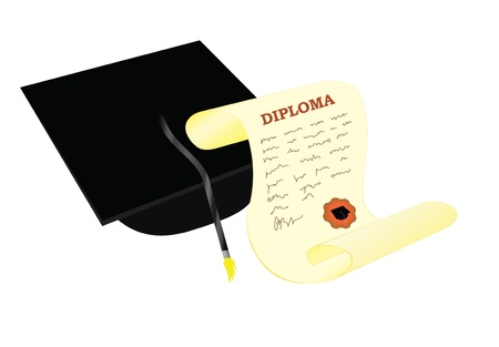 academic hat with diploma vector illustration Vector