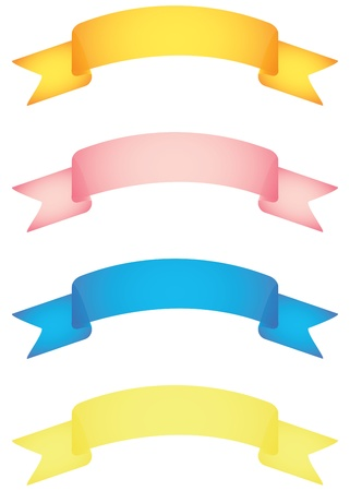 pink ribbons: set of banner scrolls vector illustration Illustration