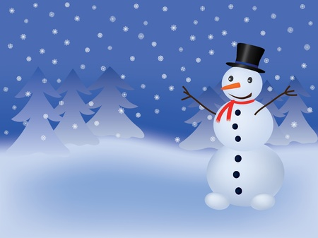 christmas background with snowman Stock Vector - 9404953
