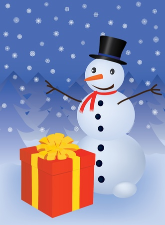 snowman with gift box vector illustration Stock Vector - 9404952