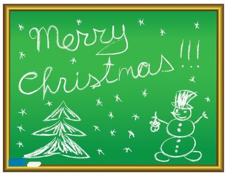 merry christmas congratulation on a chalkboard Stock Vector - 9404956