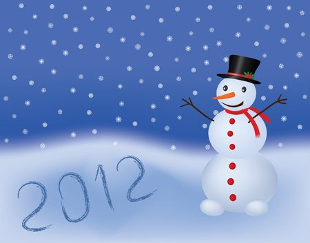 new year 2012 vector background with snowman Vector