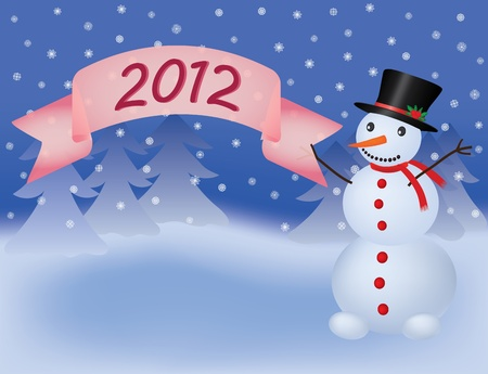 snowman with banner scroll 2012 Stock Vector - 9404957