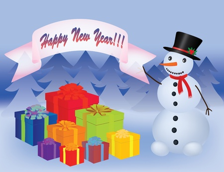 happy new year banner: snowman near a heap of new year presents illustration Illustration