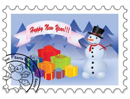 happy new year stamp: Ilustraci�n de sello de feliz a�o nuevo