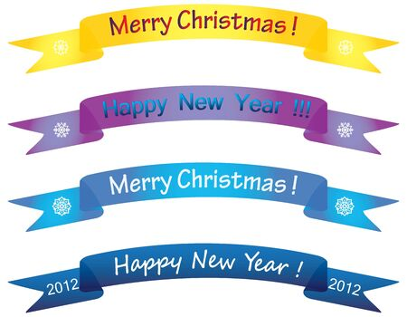 paper scrolls with merry christmas and happy new year congratulations Stock Vector - 9488275
