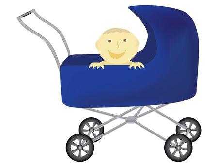 perambulator: bambino divertente in carrozzina