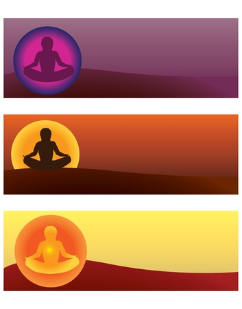 aura: set of yoga illustrations Illustration