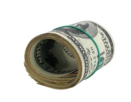 one hundred dollars: roll of one hundred dollars banknotes over white