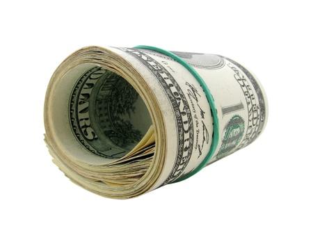 gotówka: stu dolarów banknotów przewrócenia siÄ™ biaÅ'y Zdjęcie Seryjne