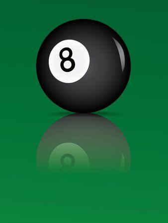 eight ball: billiard ball with reflection vector illustration