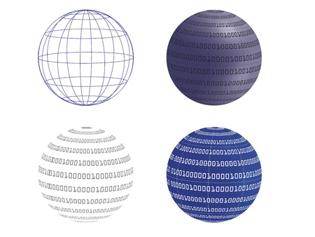 binary globe: digital world vector illustration