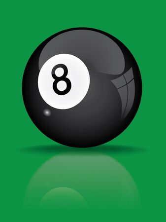 black billiard ball with reflection vector illustration Vector