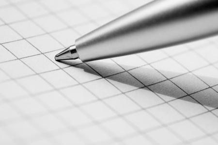 Close up of pen at a copybook Stock Photo