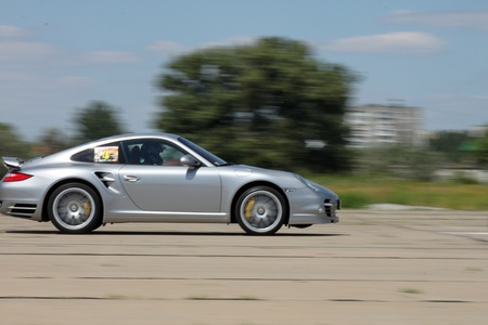porsche 911 on a race,  ukrainian drag racing championship, 6 of august 2011 Stock Photo - 10185820