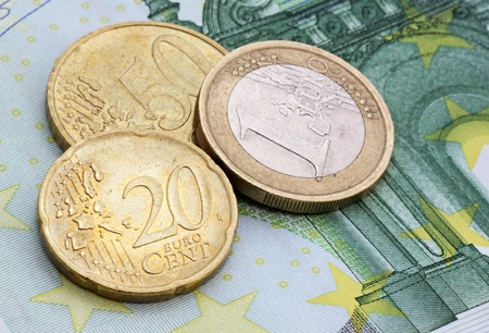 one hundred euro banknote: close up of eurocents on one hundred euro banknote Stock Photo