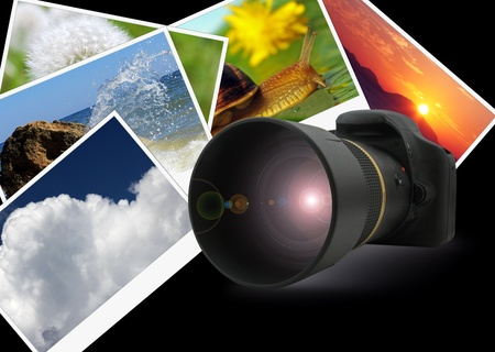 digital photo camera over nature shots Stok Fotoğraf