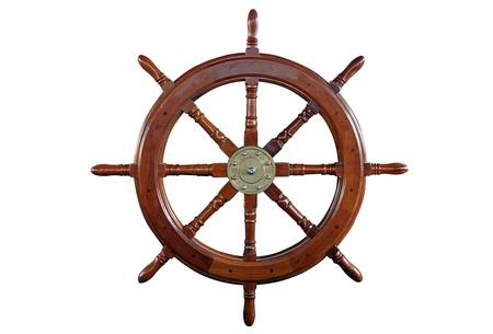 timon de barco: volante aislado en blanco Foto de archivo
