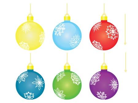 set of christmas balls with threads Illustration