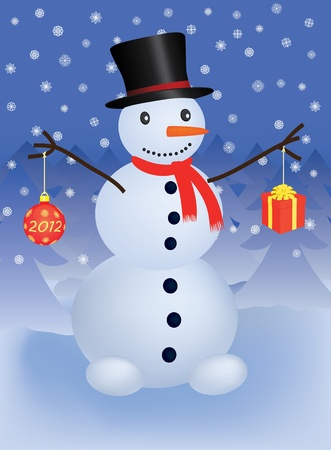 snowman with christmas ball and gift Ilustrace