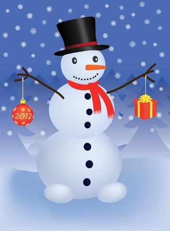 snowman with christmas ball and gift Vector