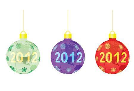 three christmas tree balls vector illustration Stock Vector - 10875010