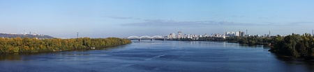 the dnieper: Panoramic view of Kiev from Dnieper