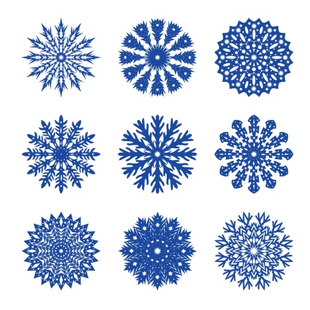 set of snowflakes illustration Stock Vector - 10953979