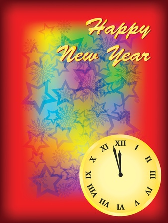 happy new year background with clock Stock Vector - 10953985