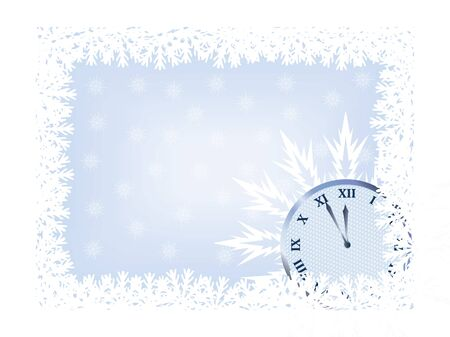 time frame: new year background with snowflakes and clock