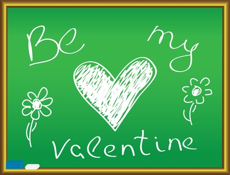 be my valentine handwriting on a chalkboard Vector