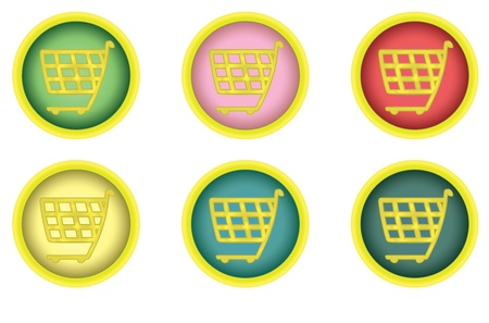 set of round shopping cart buttons Stock Vector - 11979795