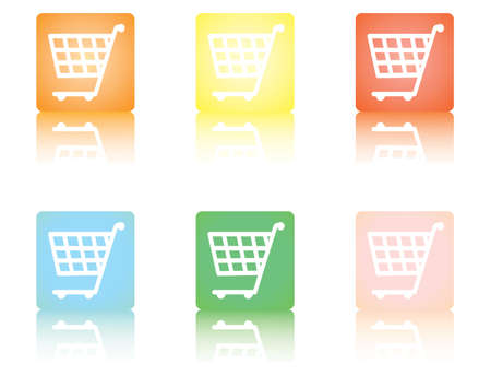 square shopping cart icons with reflection Stock Vector - 11993612