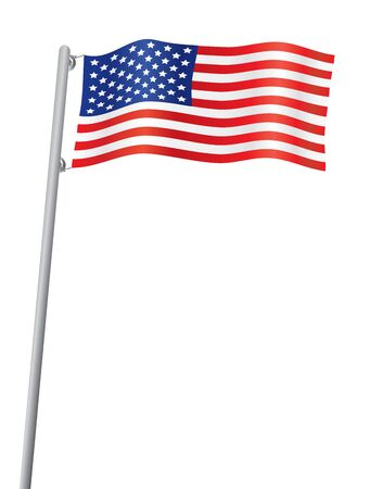 flyaway: vector illustration of USA flag isolated on white