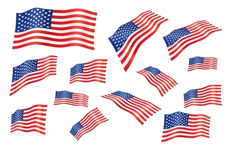 us flag: vector set of united states fly-away flag
