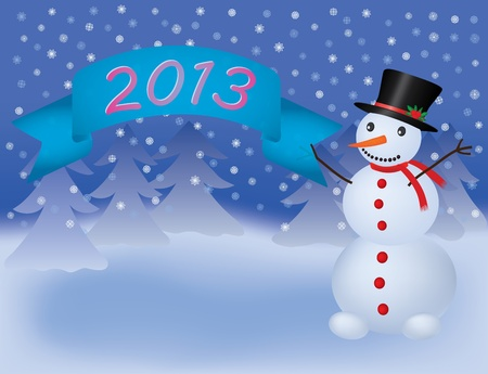 snowman with banner scroll 2013 vector illustration Stock Vector - 12034411