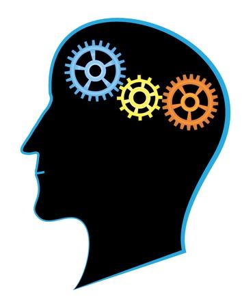 thinking machine: la actividad cerebral: la silueta de la cabeza del hombre con engranajes