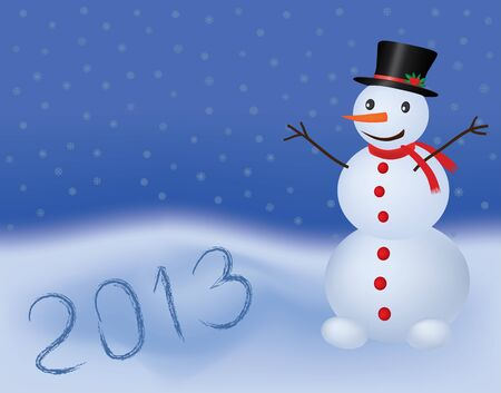 new year 2013 background with snowman Stock Vector - 12077618