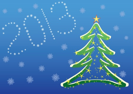 christmas 2013 background with christmas tree and snowflakes Vector