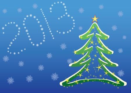 Navidad 2013 de fondo con �rbol de navidad y copos de nieve Foto de archivo - 12077636