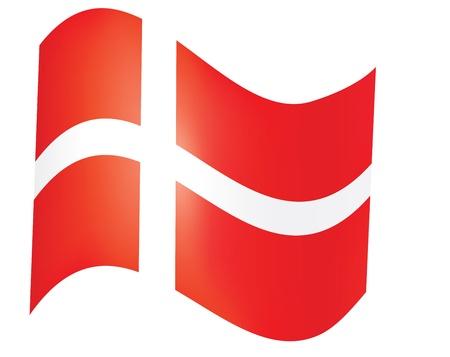 danish flag: fly-away Danish flag over white illustration Illustration