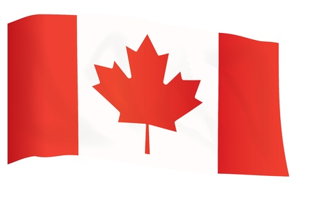 flyaway: fly-away flag of Canada isolated on white vector illustration Illustration