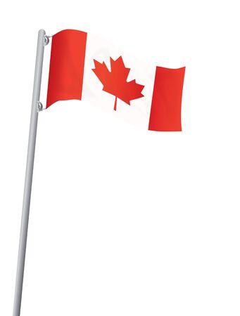 flagstaff: flag of Canada on flagstaff isolated on white illustration Illustration