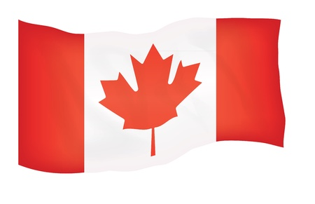 flyaway: fly-away flag of Canada isolated on white illustration