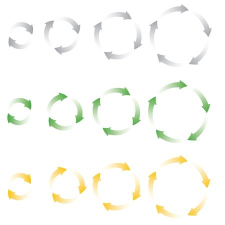 fleche verte: ensemble de processus vectoriel icons illustration