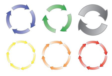 flecha azul: conjunto de ilustraci�n de vector de flechas en bicicleta Vectores